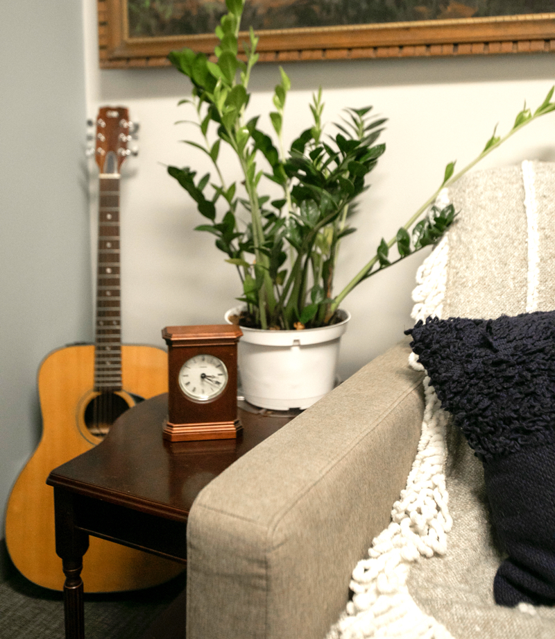 couch-side table with a plant and a clock, and a guitar behind that